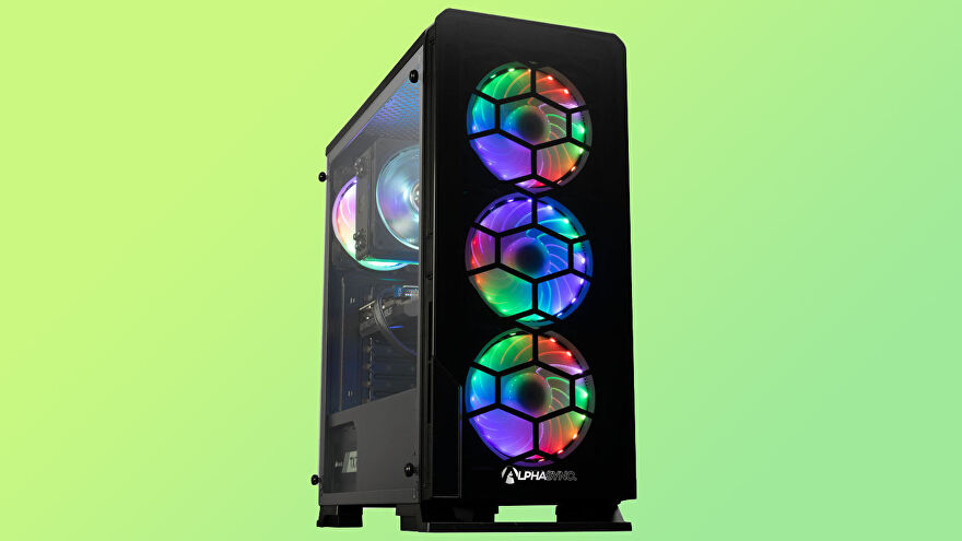 a photo of a gaming PC with three large RGB fans on the front and more inside