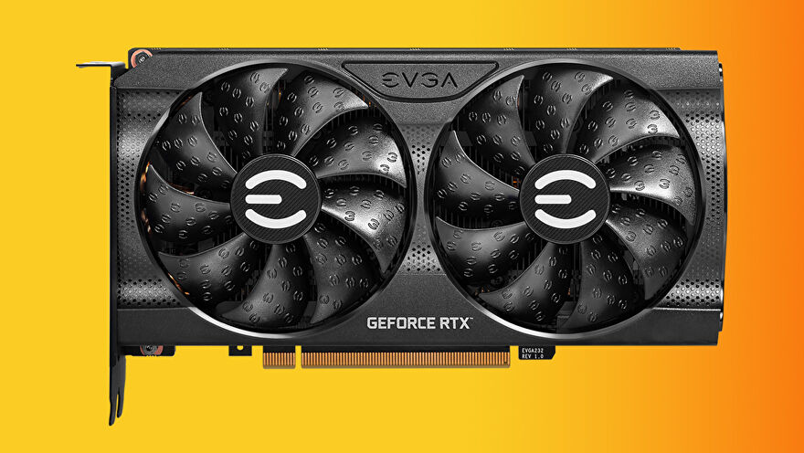 a colourful photo of an EVGA RTX 3060 graphics card