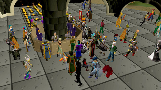 Players in all sorts of colourful outfits gathered at the Grand Exchange in Old School RuneScape.