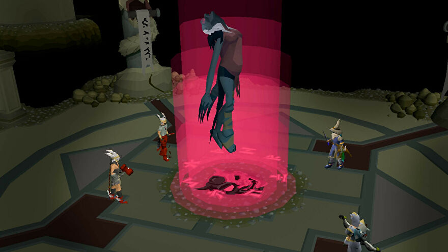 Players putting some strange red magic on a troll in Old School RuneScape.