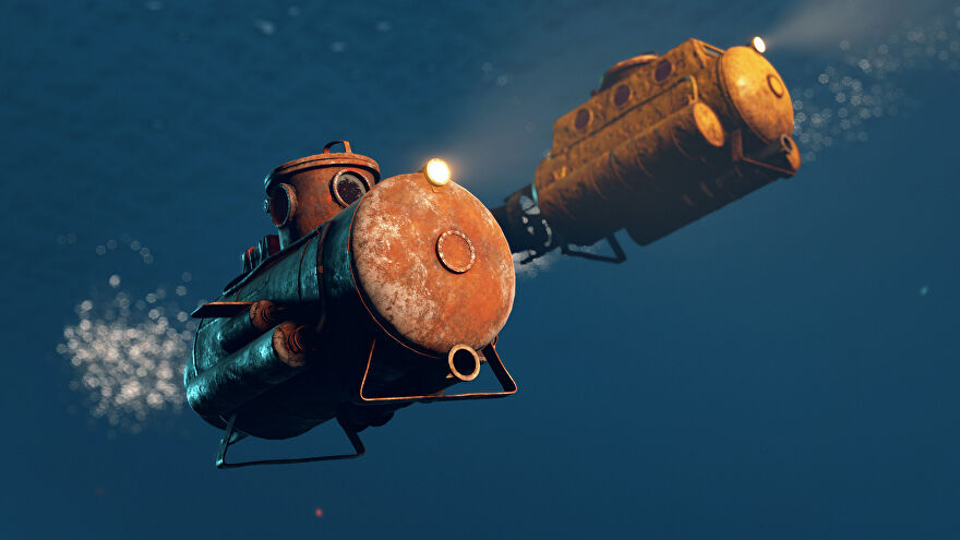 Rust - An underwater shot of a small player-driven submarine with a larger one in the background.