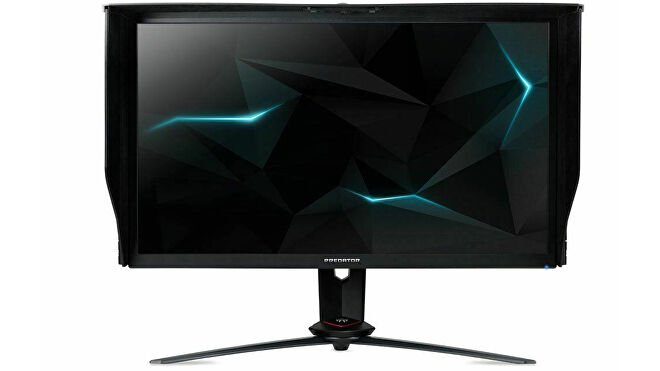 a photo of an acer predator xb273k 27-in monitor, with an angular appearance that appeals to gamers apparently