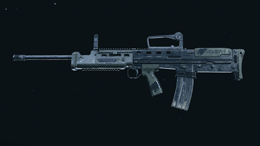 A screenshot of the SA87 LMG as it appears in the Call of Duty: Warzone Gunsmith.