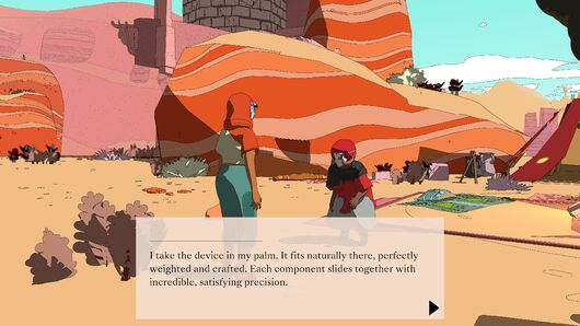 A screenshot of Sable chatting with a small elderly woman in a desert camp in Sable