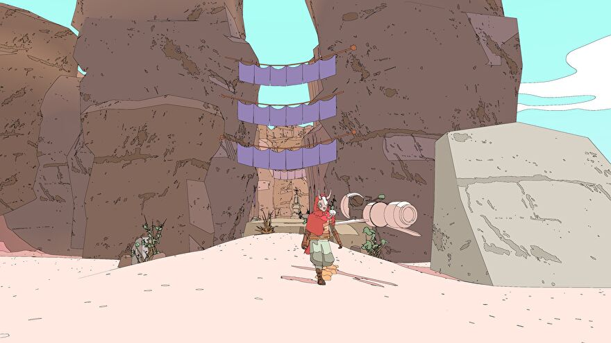 Sable walks through a pretty canyon next to her hoverbike.