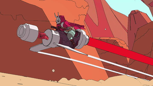 Artwork of Sable riding her bike in a desert in Sable