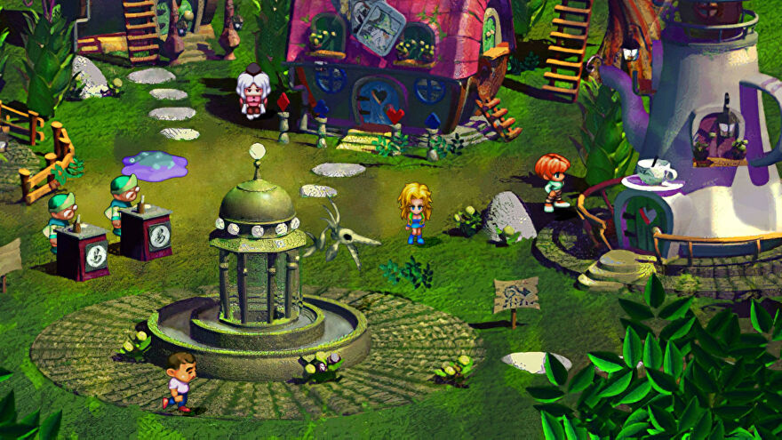 Some chibi-looking characters wandering around a very green village in SaGa Frontier Remastered.