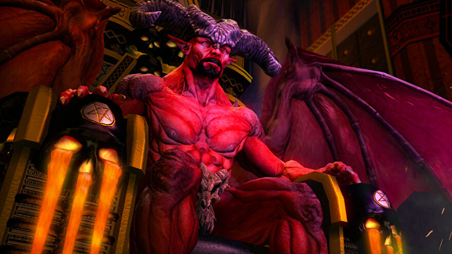 A topless and bearded Satan from Saints Row: Gat Out Of Hell sitting on a large throne