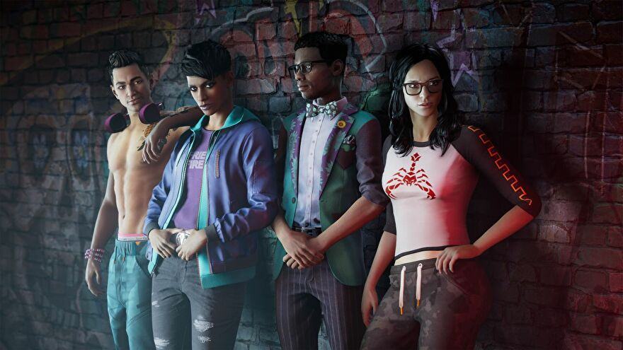 The four main characters in the Saints Row reboot leaning against a wall. Left to right: Kevin, the Boss (player character), Eli and Neenah