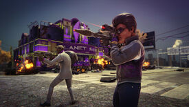 Saints causing explosive trouble in a Saints Row: The Third Remastered screenshot.