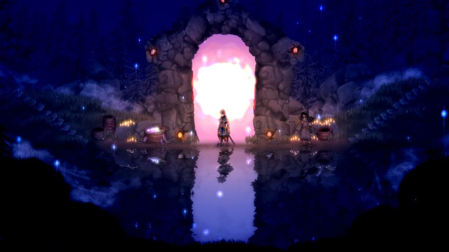 A dramatic shot of the player character in a doorway in Salt And Sacrifice.