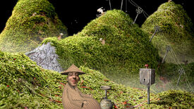 A screenshot of Samorost, which has been newly released on Steam with enhanced graphics and new music, showing a green landscape and pleased looking man in the foreground.