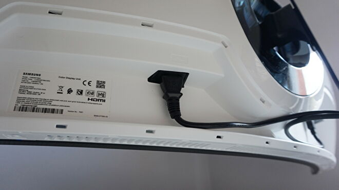 A photo of the Samsung Odyssey G9 gaming monitor's power port