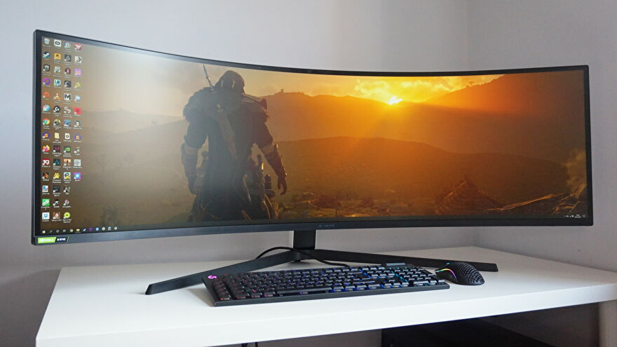 A photo of the Samsung Odyssey G9 gaming monitor