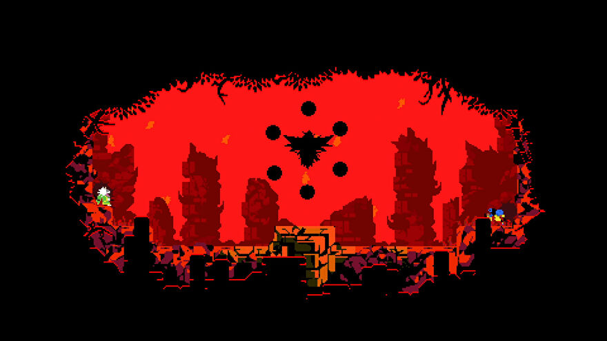 A screenshot of Samurai Gunn 2. The scene is surrounded by black, teh sky is blood red, a strange black shape floats in the middle. A dog-like pixel character is at the left.