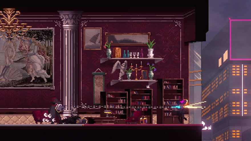 A screenshot from Sannabi: The Revenant showing the protagonist in a gaudy high rise apartment skewering someone with a grappling hook, such that they're hanging out a window.