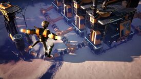 A screenshot of Satisfactory showing a player hovering in the foreground using the Hoverpack added in update 4. The player is looking at machinery.