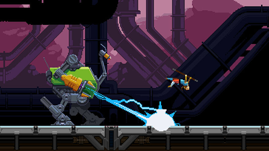 A screenshot of Saviour, showing a 2D pixel protagonist doing a backflip to avoid the laser fire of a stompy looking mech.