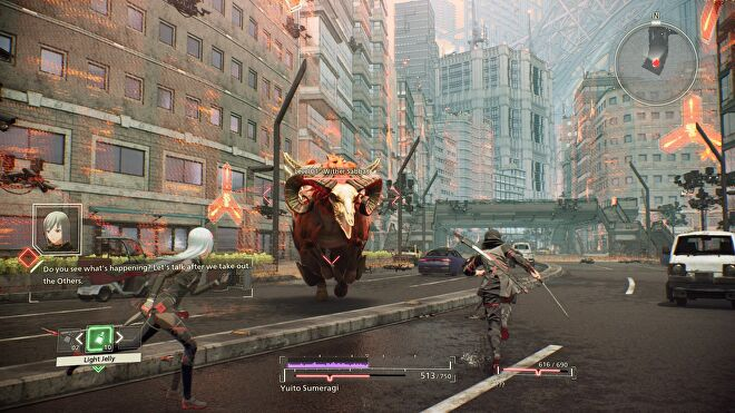 A bull monster charges towards two humans in a city battle scene in Scarlet Nexus