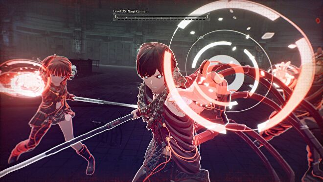 A close-up of two characters holding weapons and holding out their hands to form red energy orbs in Scarlet Nexus
