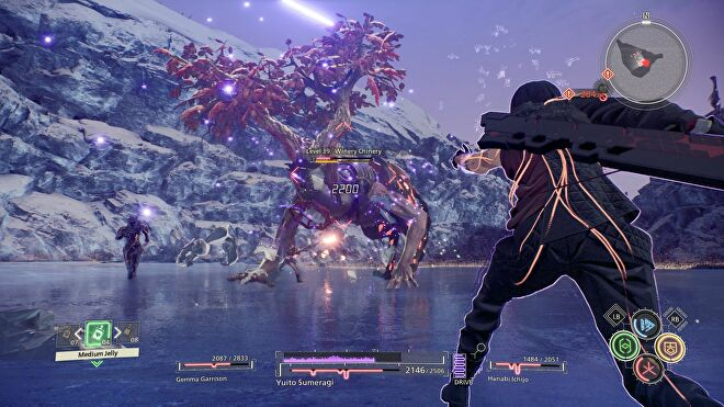 Two characters fight a monster on a frozen lake in Scarlet Nexus