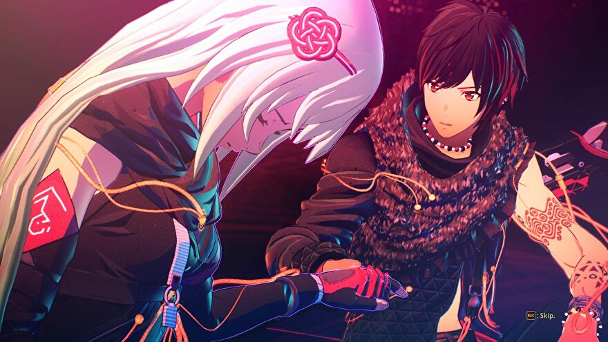 A boy looks on concerned about his female friend while holding her hand in Scarlet Nexus