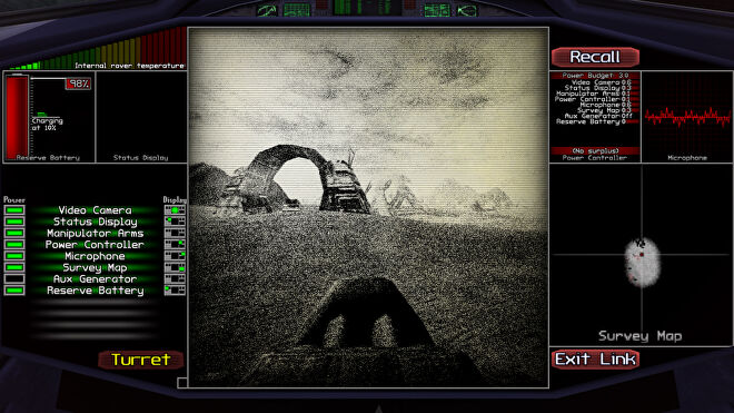 A view of the planet in Scavenger SV-4, as seen through the grainy screen of a mining car on the surface