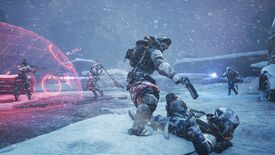 Scavengers - A player with a pistol threatens another player lying in the snow while two other players fight in the background near a red, translucent bubble shield.