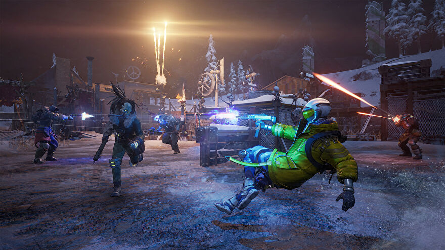 Scavengers - A player dives backwards while shooting at an AI enemy at night in a snowy environment.