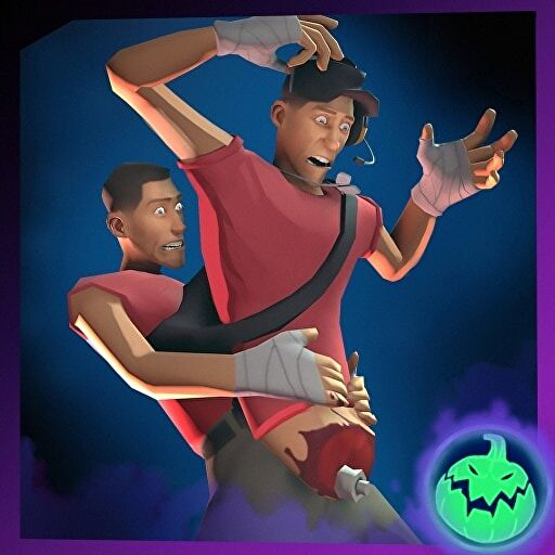 An image showing the Scout from TF2 wearing a cosmetic outfit that makes him look like he's carrying his own severed torso.