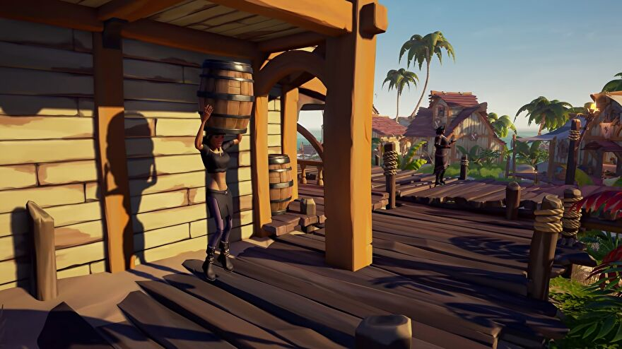 Sea Of Thieves - A pirate standing behind a tavern leaps in the air with a barrel above their head, about to disappear inside.