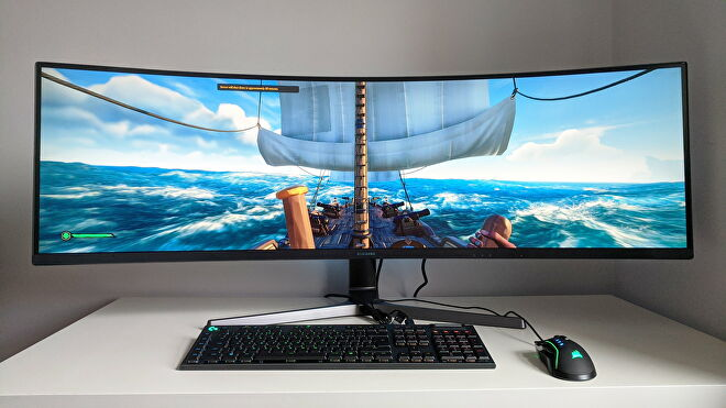 A photo of an ultrawide gaming monitor running Sea Of Thieves