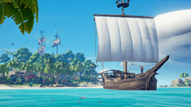 A pirate ship from Sea Of Thieves.