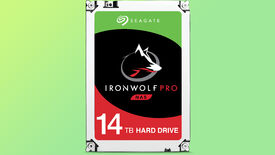 a photo with a seagate iron wolf pro hard drive, with a wolf silhouette on the front to drive home the point