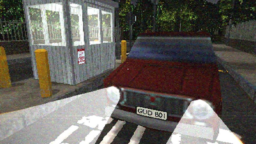 """Security Booth - A red car with the license plate """"Gud Boi"""" waits beside a security booth with its lights on at night."""