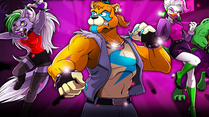 Freddy Fazbear and friends pose on the title screen for Security Breach: Fury's Rage.