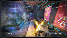 A screenshot of Selaco, showing a first-person view of the player jumping while firing a machinegun at an enemy. Particle effects are everywhere in a shiny scifi lobby and the enemy is spilling purple blood.