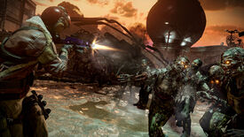 A horde of zombies attack the player in the helipad area of Firebase Z.