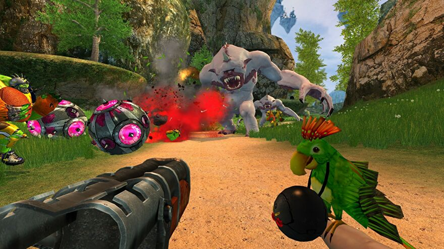 Serious Sam 2 - Same dual wields a shotgun and a bomb while fighting against a group of enemies.