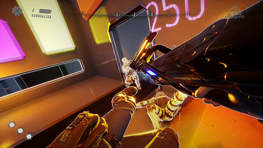 Severed Steel - In first person, a character leaps through the air to kick an enemy while pointing a gun at them.