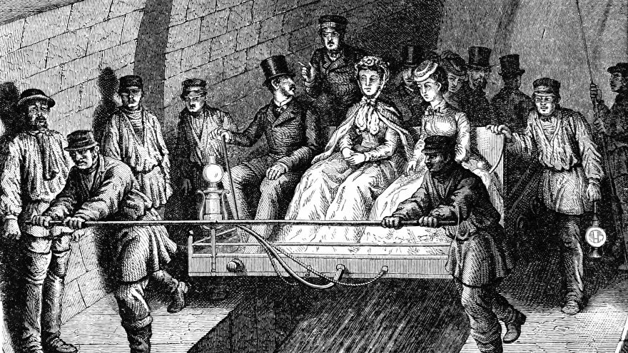 Posh people being carried on a sled through a tour of the sewers in an illustration from 'French Pictures drawn with pen and pencil'.