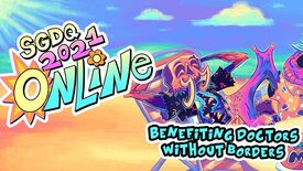 """Summer Games Done Quick 2021 banner art: text reads """"SGDQ 2021 Online"""" and """"Benefitting doctors without borders"""" over a character lounging in a beach chair."""