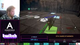 A screencapture of the Styx: Shards of Darkness speedrun at SGDQ 2021 showing Tohelot walking across a set of shapes and symbols on the ground.