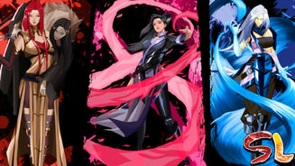 Promotional Shindo Life art featuring three characters standing side by side.
