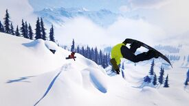 A screenshot of Shredders, a snowboarding game, showing a snow covered landscape and two snowboarders, one of whom is upside down in the air.