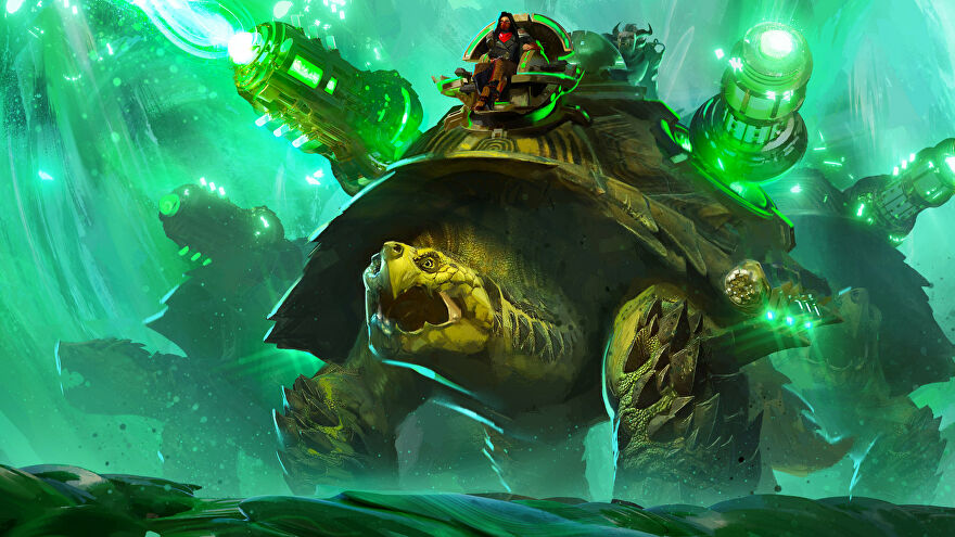 A giant turtle with guns on its shell roars in Guild Wars 2