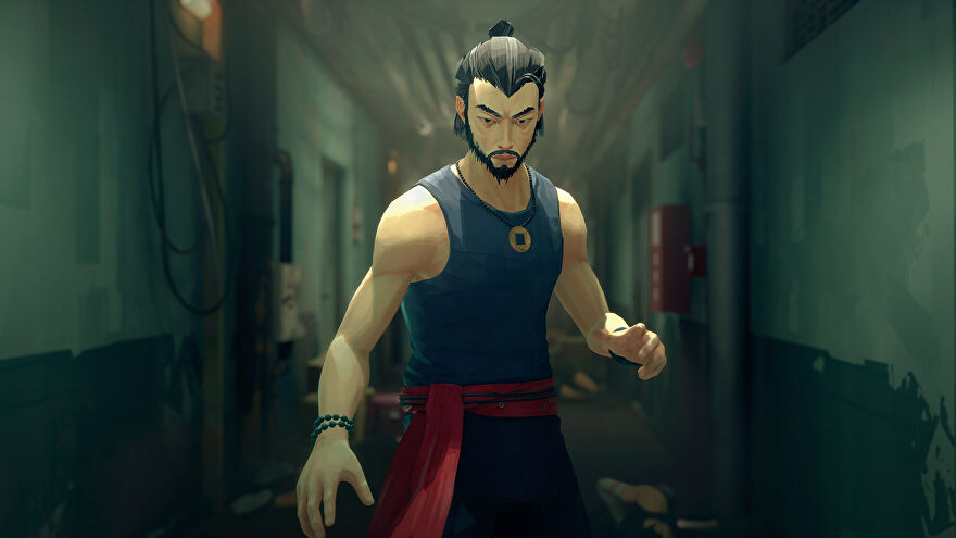 Our kung fu hero poses in a corridor strewn with bodies in a Sifu screenshot.