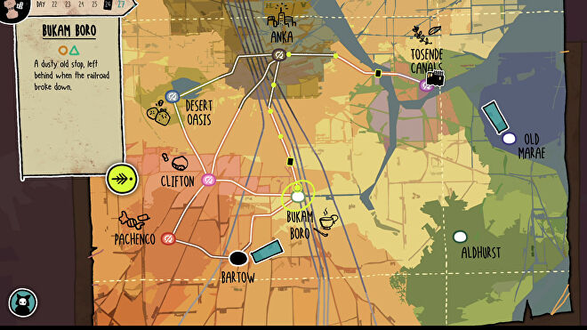 The map screen in Signs Of The Sojourner