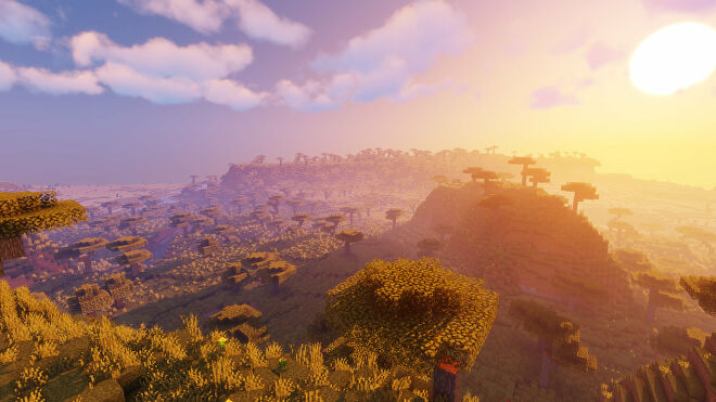 A Minecraft screenshot of a landscape with Sildur's Vibrant Shaders enabled.