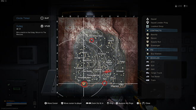 The area south of hills, south of park, and south-west of military base are circled on the Warzone map.